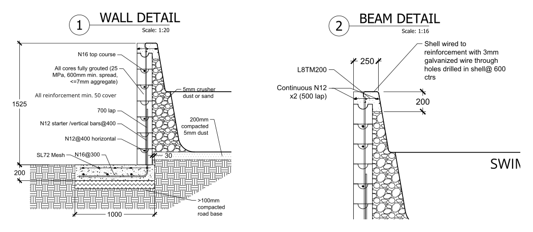 Design of the concrete bond beam connecting shell to the retaining walls