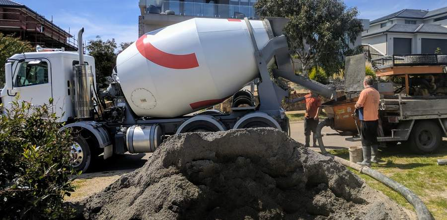 Ready mix truck and concrete pump