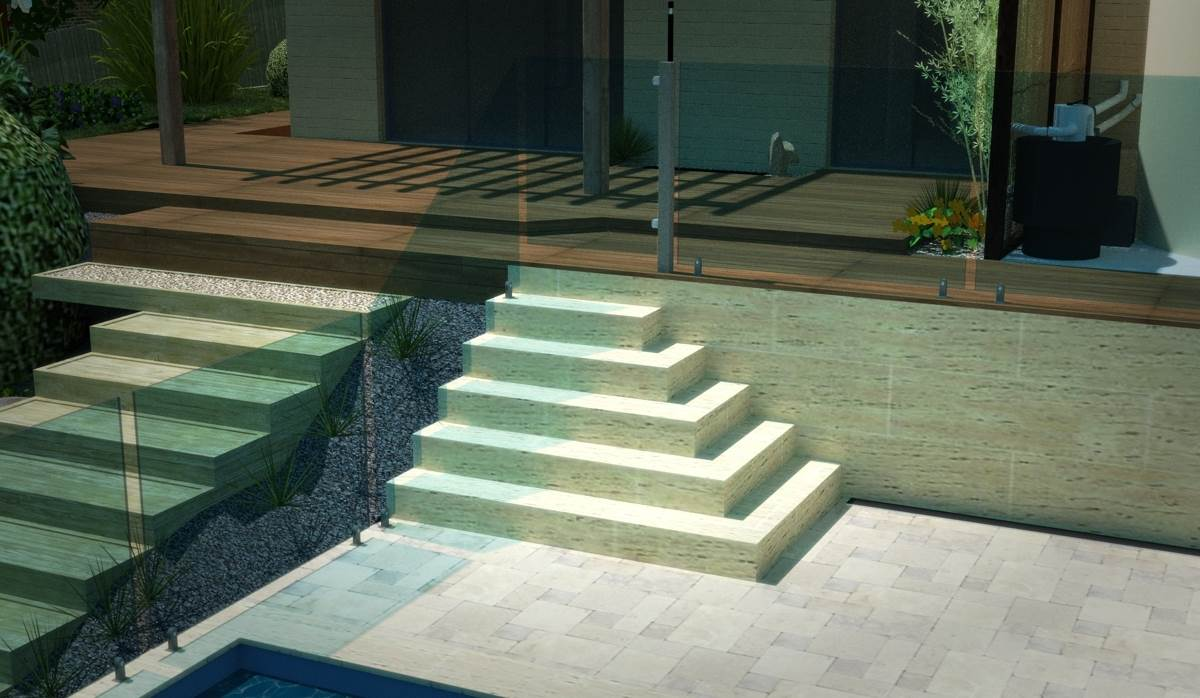 Render of pool steps