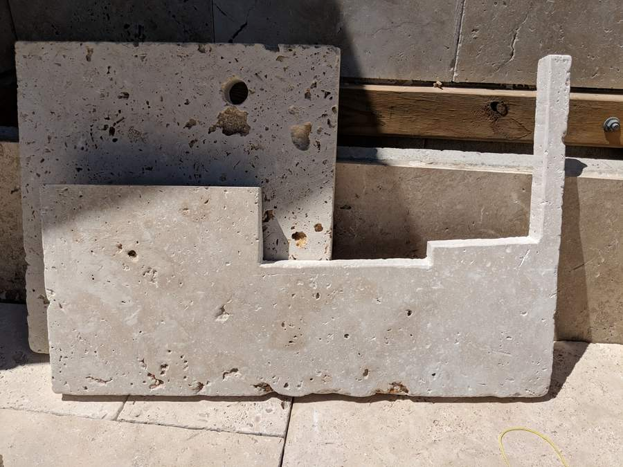 Cut paver for seat/cupboard edge
