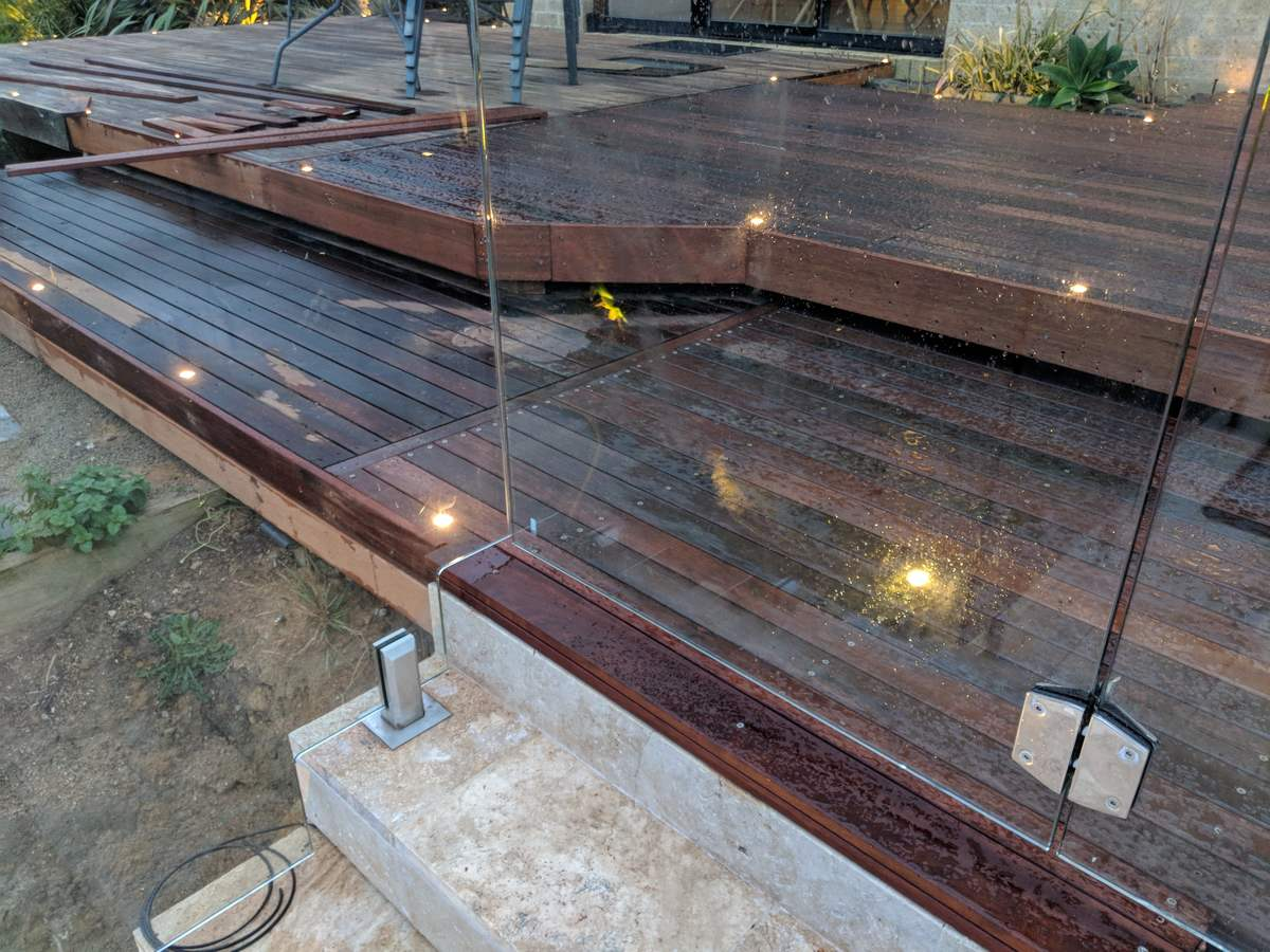 Completed deck adjoining existing deck